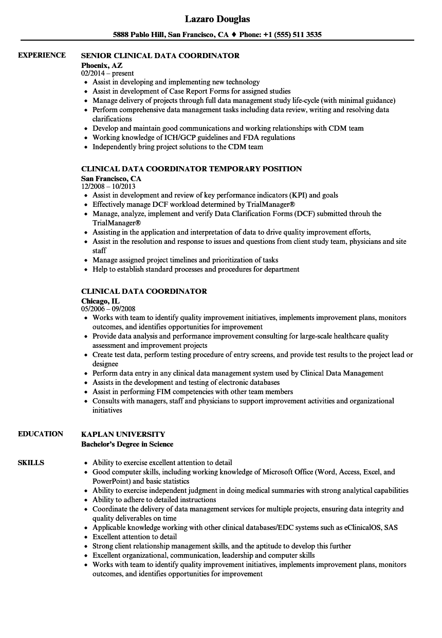 clinical data coordinator resume samples
