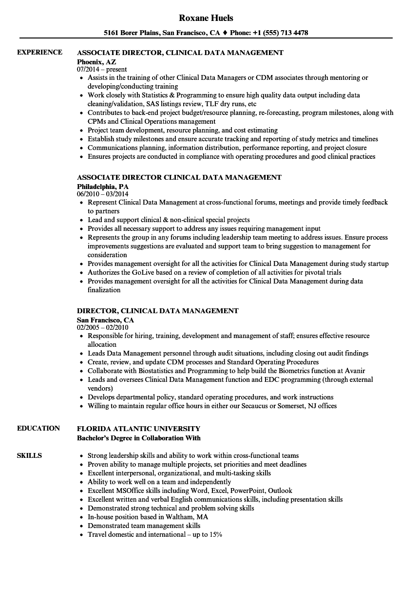 clinical data management resume samples