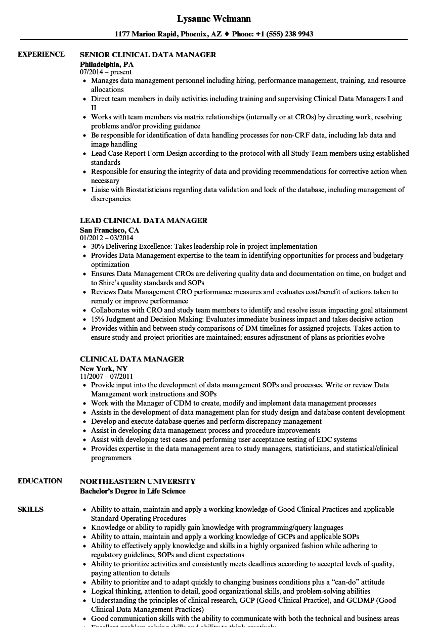 Clinical Data Manager Resume Samples | Velvet Jobs