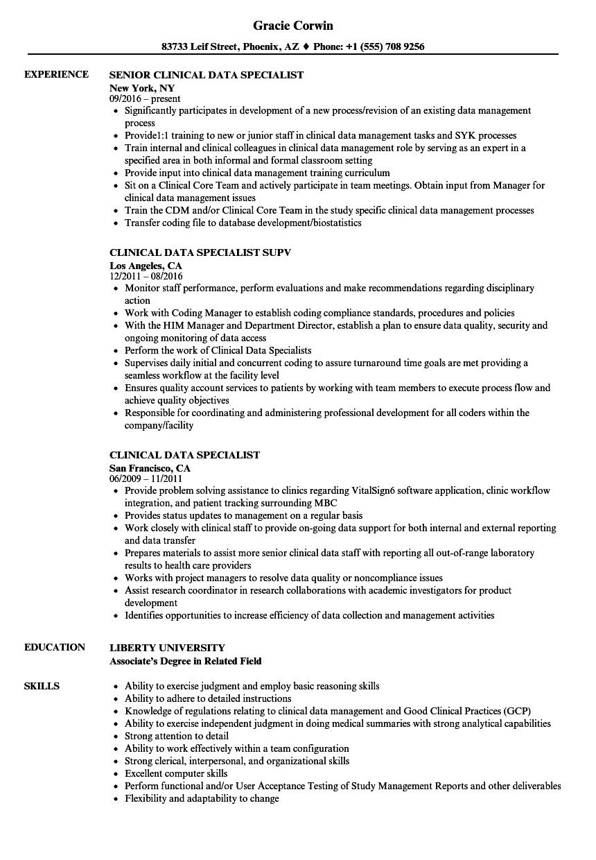 Clinical Data Specialist Resume Samples Velvet Jobs
