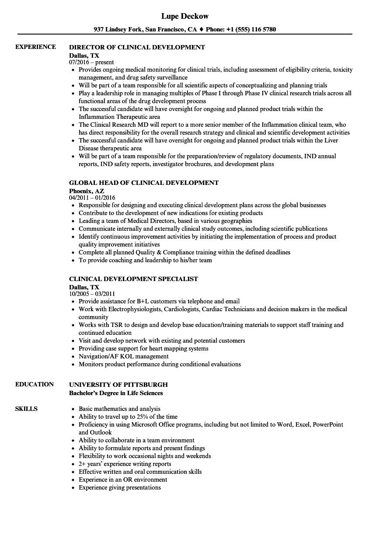 clinical development resume samples
