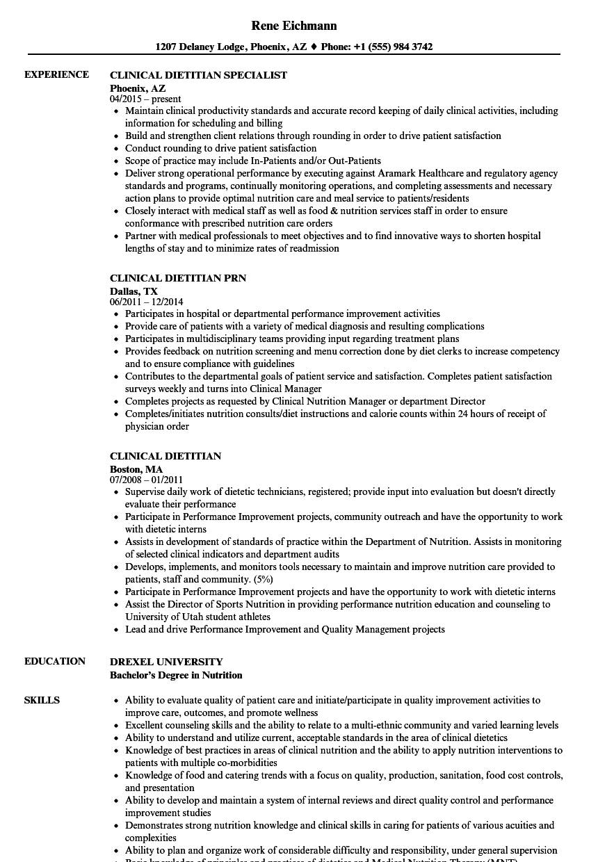 Clinical Dietitian Resume Samples | Velvet Jobs