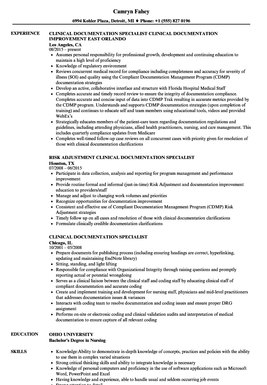 clinical documentation specialist resume samples