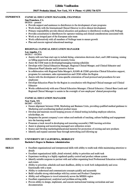 Clinical Education Manager Resume Samples Velvet Jobs