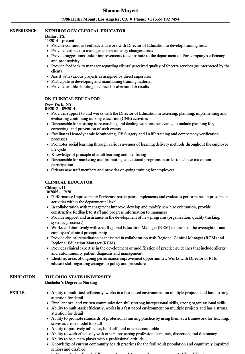 clinical educator resume samples