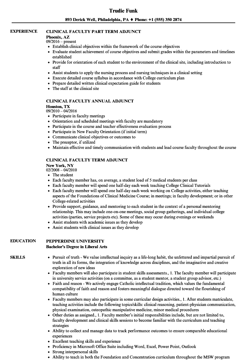 Clinical Faculty Resume Samples