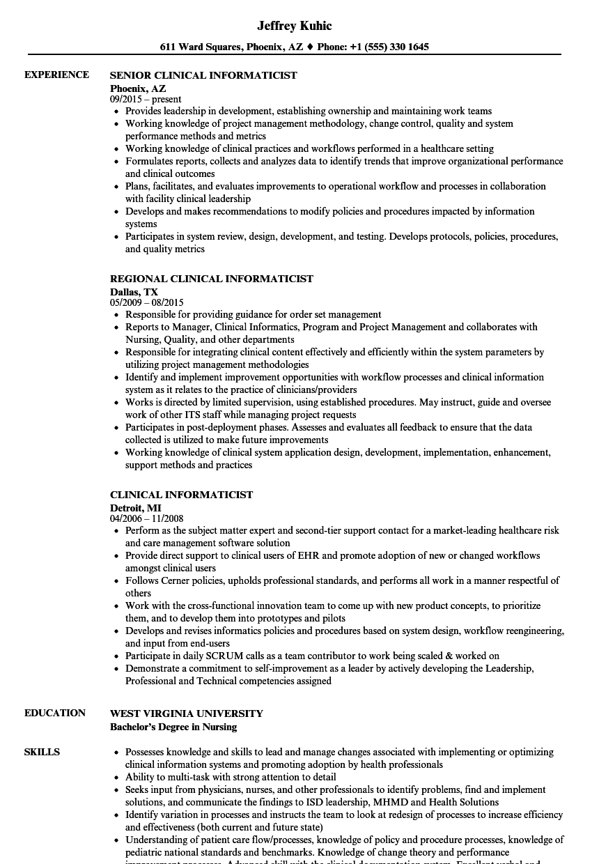 Download Clinical Informaticist Resume Sample As Image File