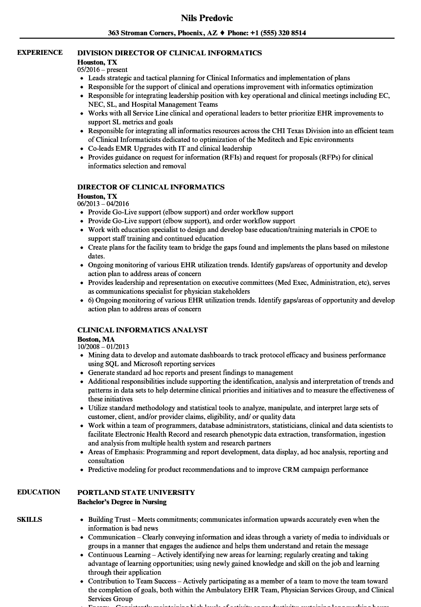 Clinical Informatics Resume Samples Velvet Jobs