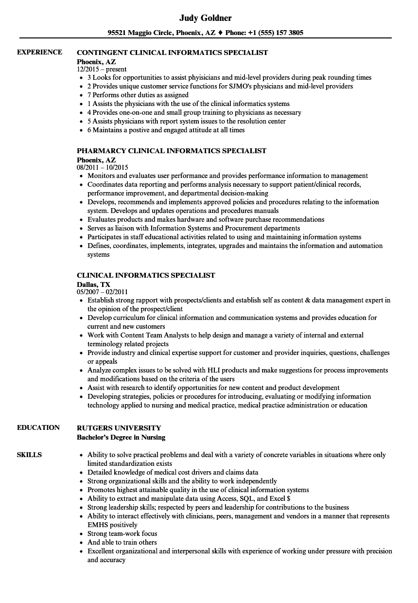 Clinical Informatics Specialist Resume Samples Velvet Jobs