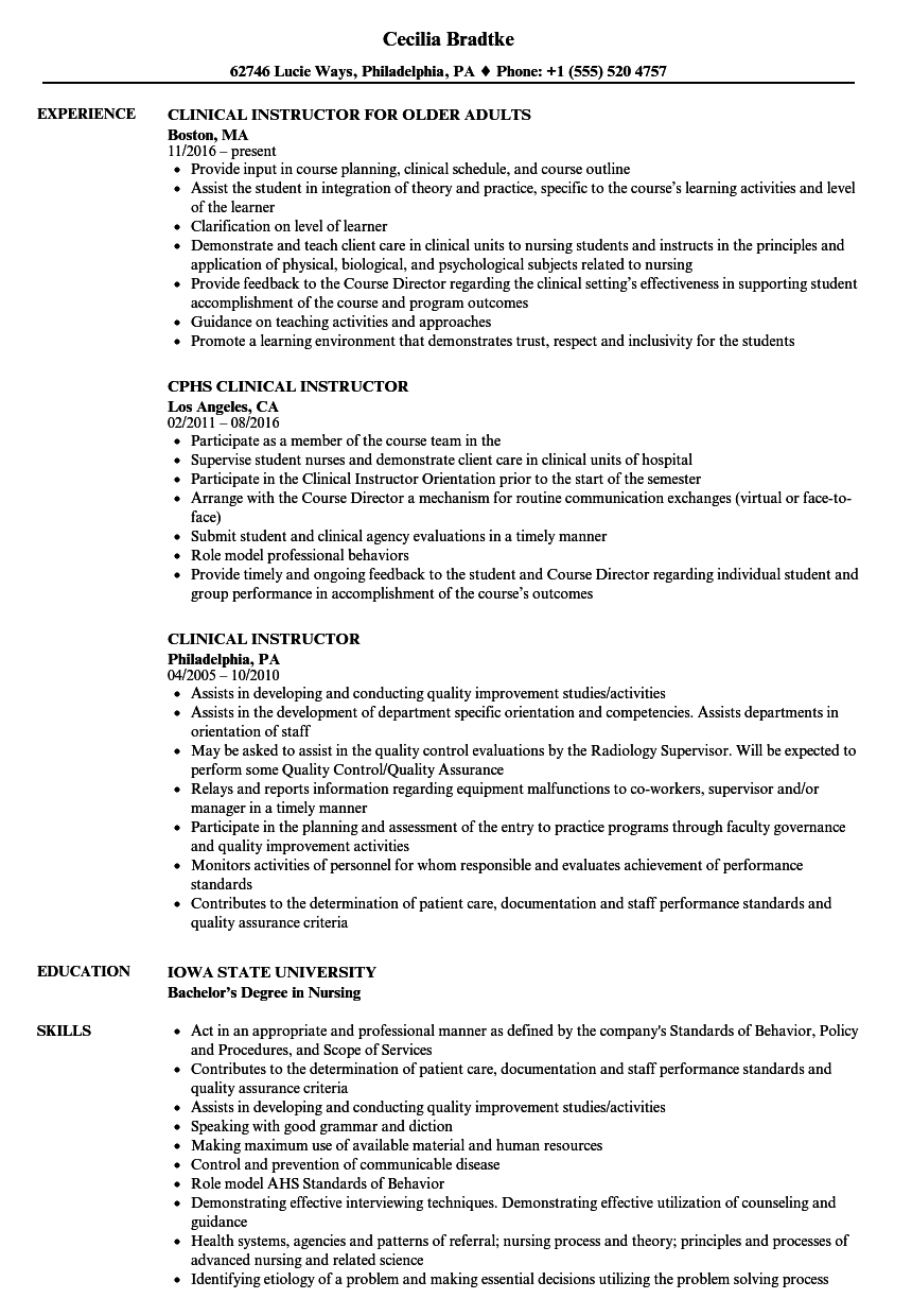 Clinical Instructor Resume Samples Velvet Jobs