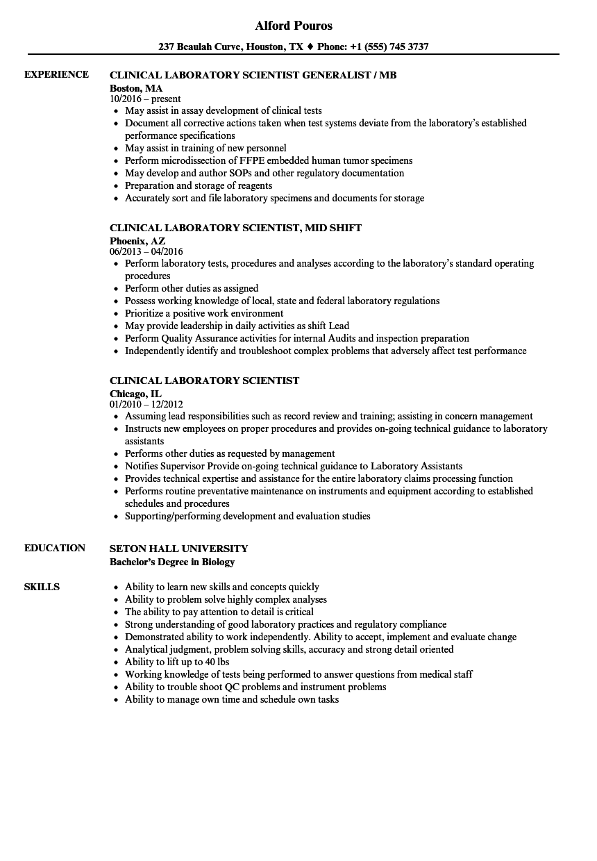 clinical laboratory scientist resume samples velvet jobs