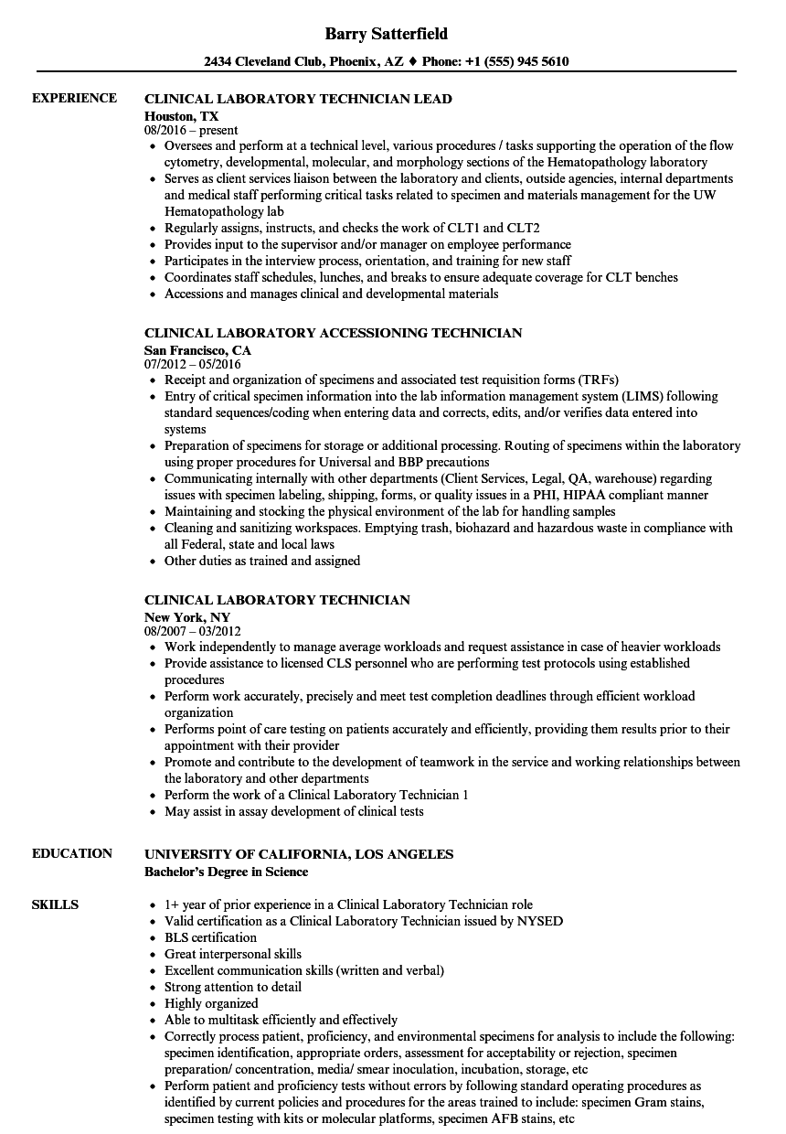 clinical laboratory technician resume samples