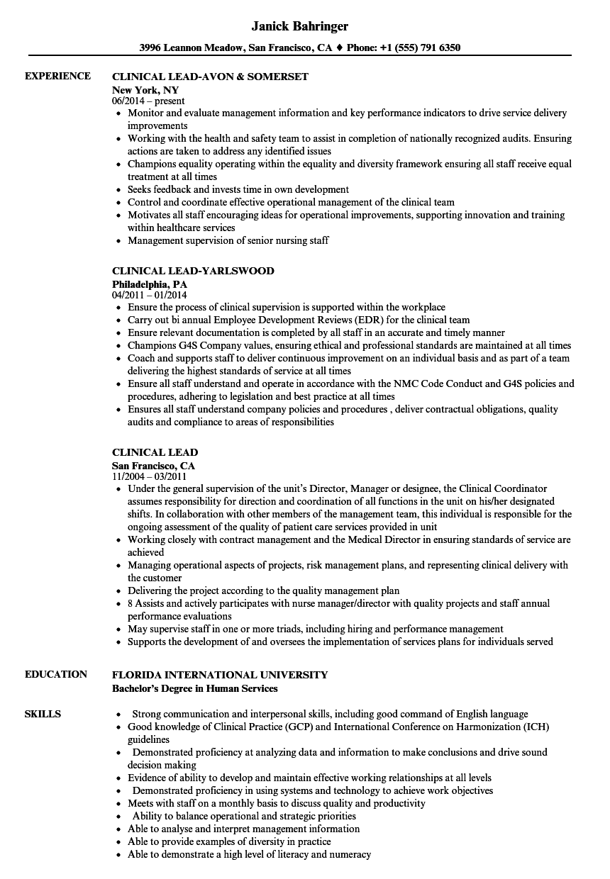 clinical lead resume samples