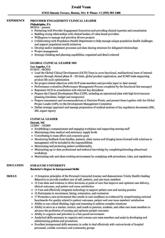 Clinical Leader Resume Samples Velvet Jobs