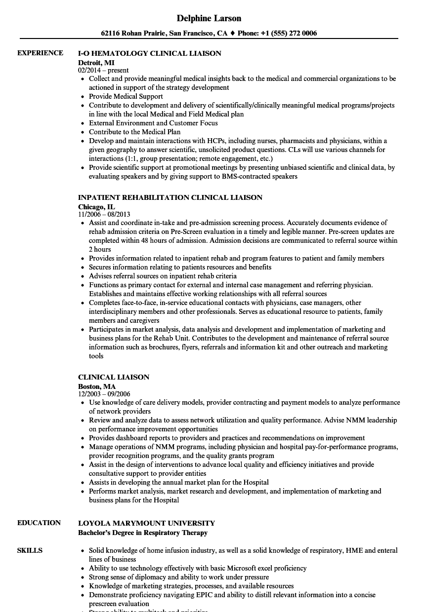 clinical liaison resume sles velvet