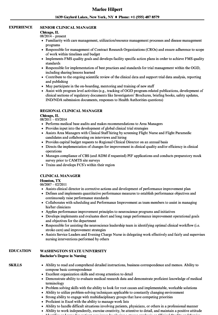 clinical manager resume samples