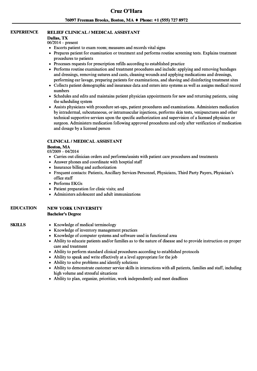 Clinical Medical Assistant Resume Samples | Velvet Jobs