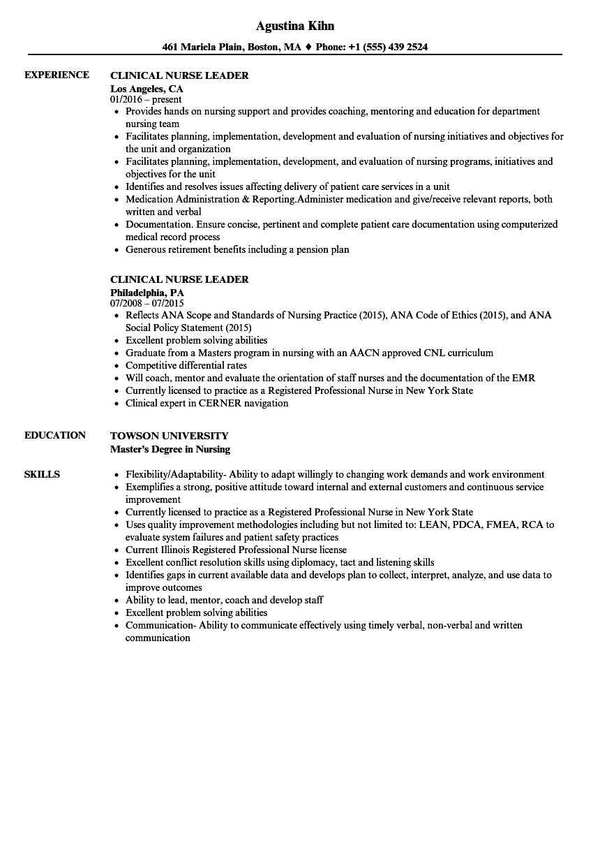 Clinical Nurse Leader Resume Samples | Velvet Jobs