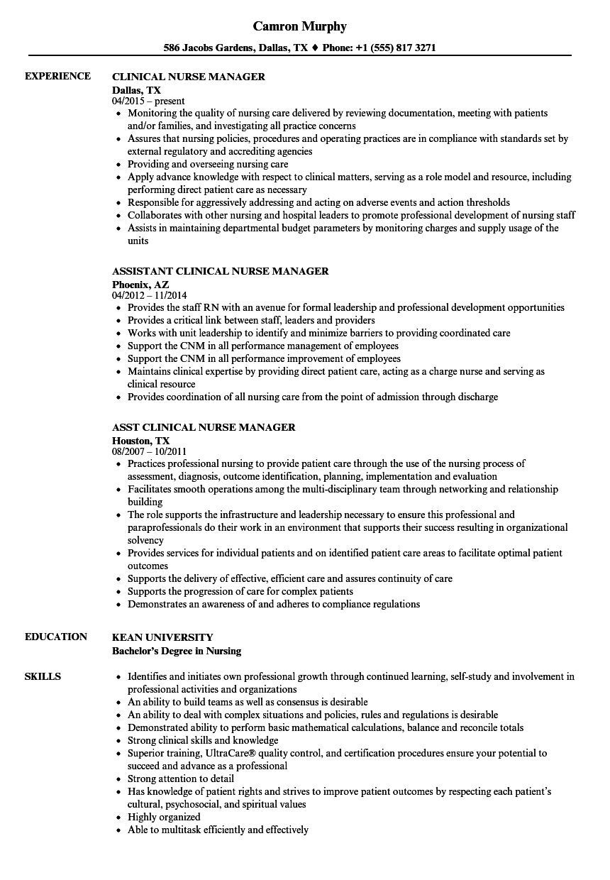 Clinical Nurse Manager Resume Samples | Velvet Jobs