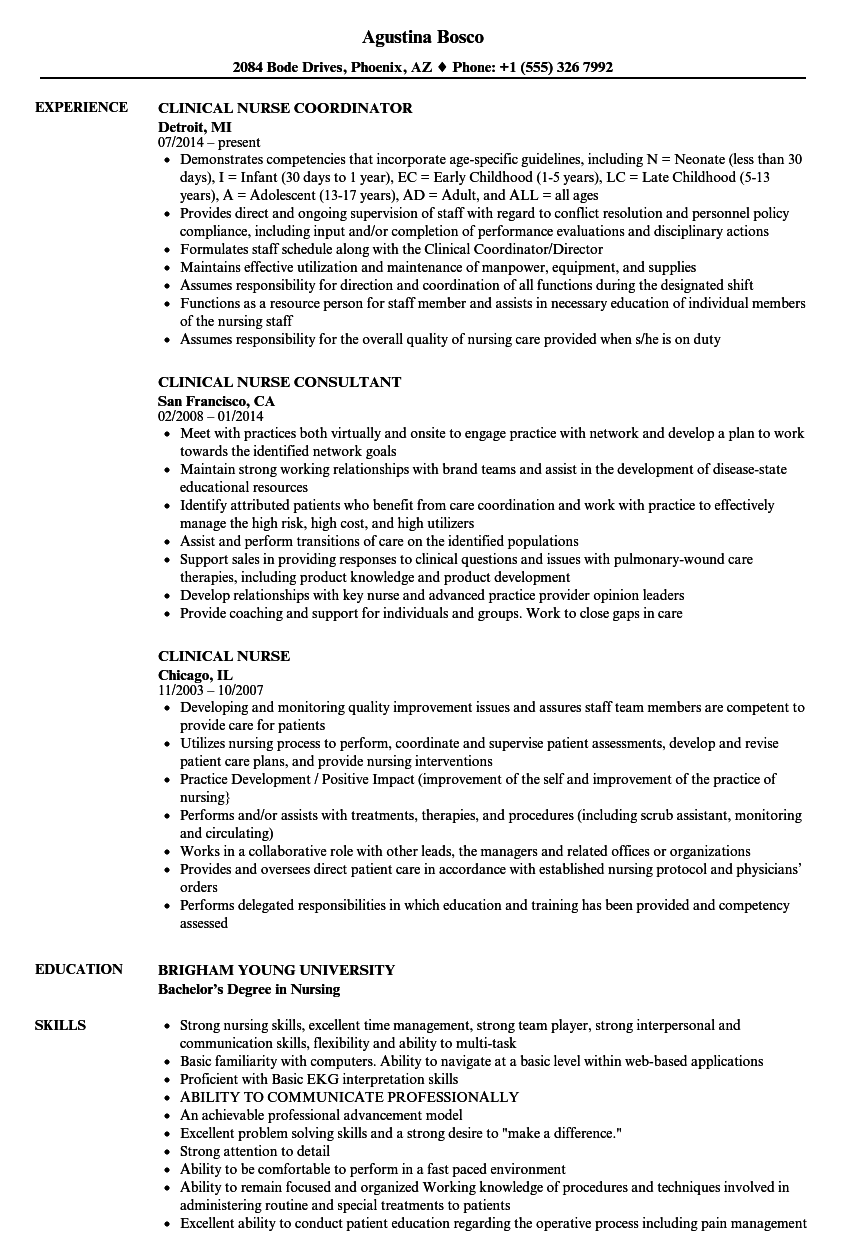 Clinical Nurse Resume Samples | Velvet Jobs