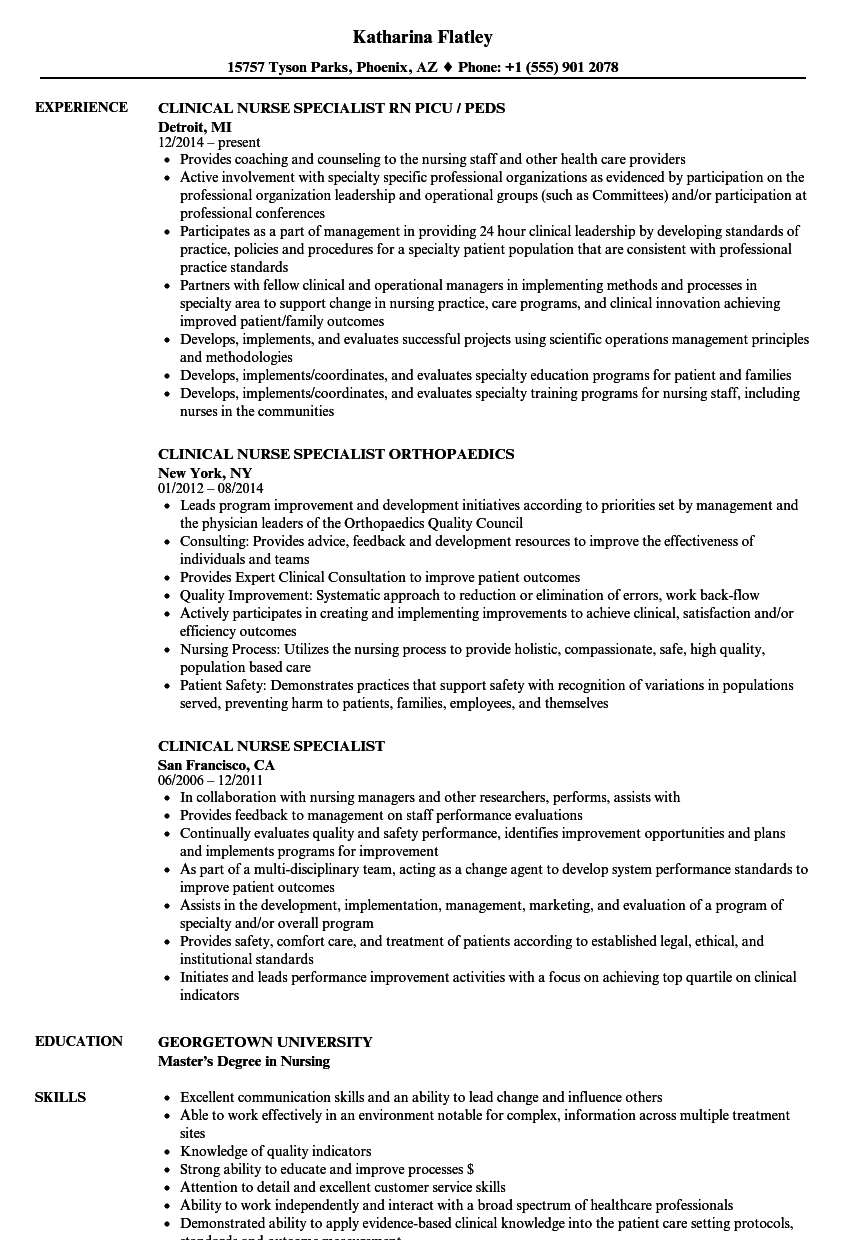 clinical nurse specialist resume samples