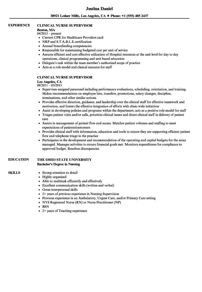 Clinical Nurse Supervisor Resume Samples Velvet Jobs