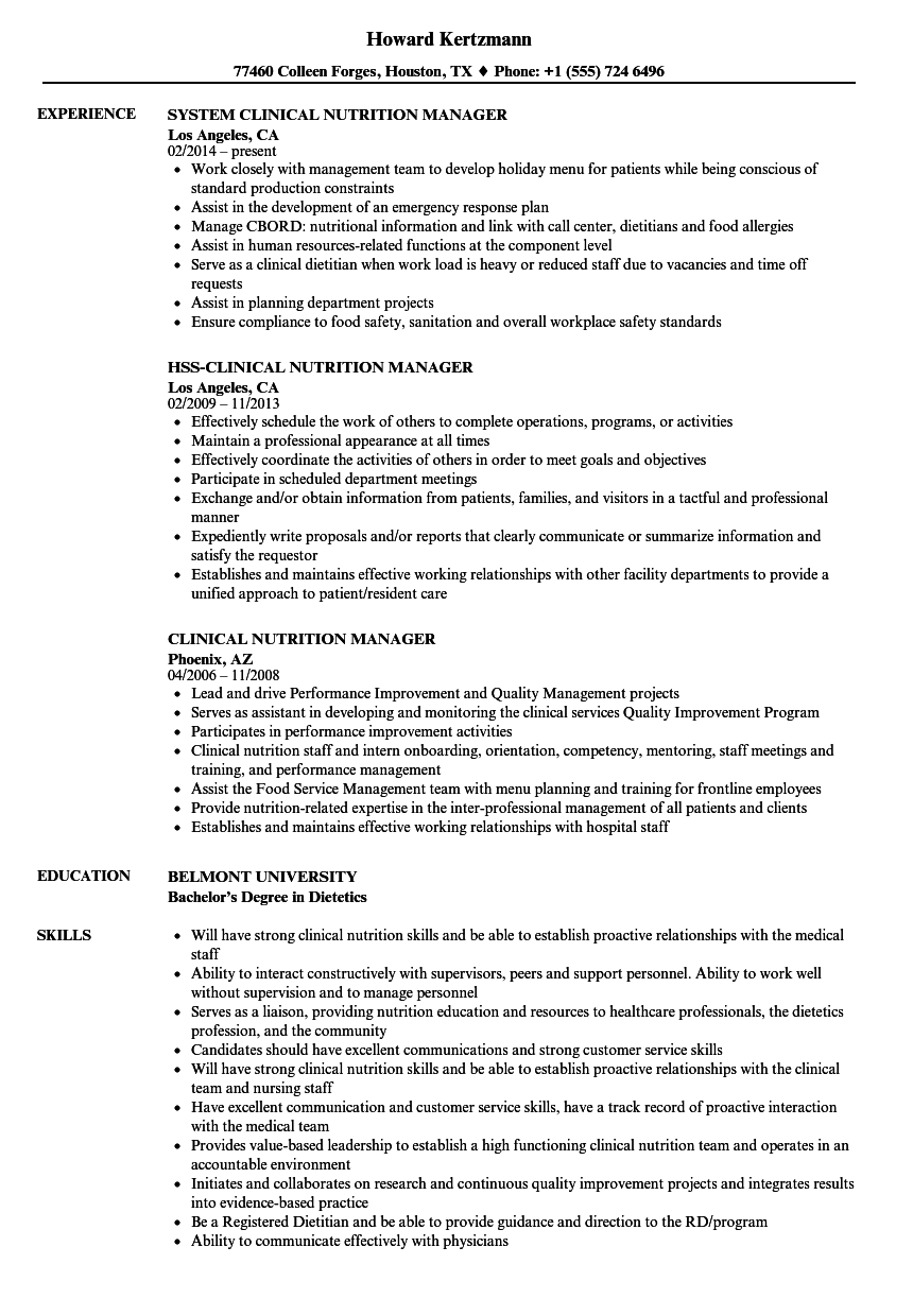 clinical nutrition manager resume samples