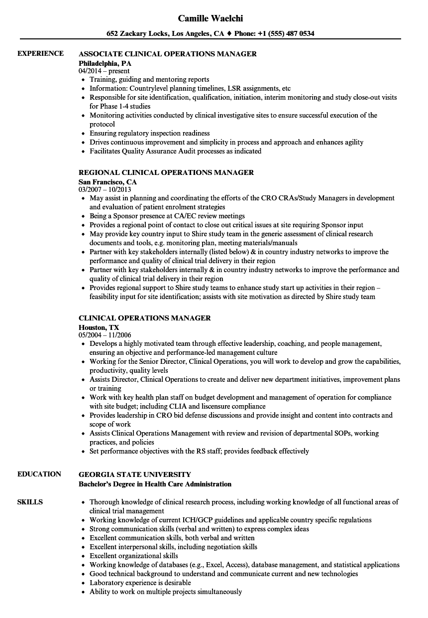 Clinical Operations Manager Resume Samples | Velvet Jobs