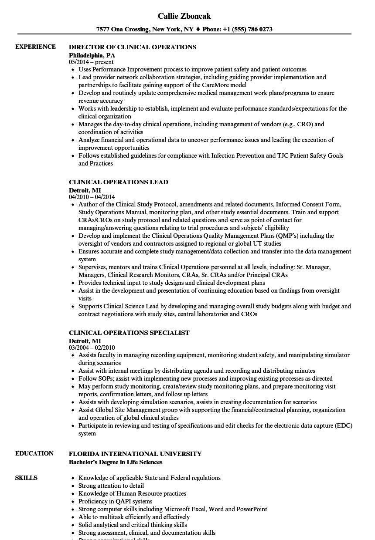 Clinical Operations Resume Samples Velvet Jobs
