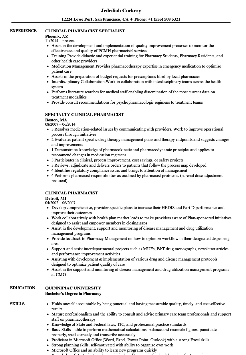 clinical pharmacist resume samples