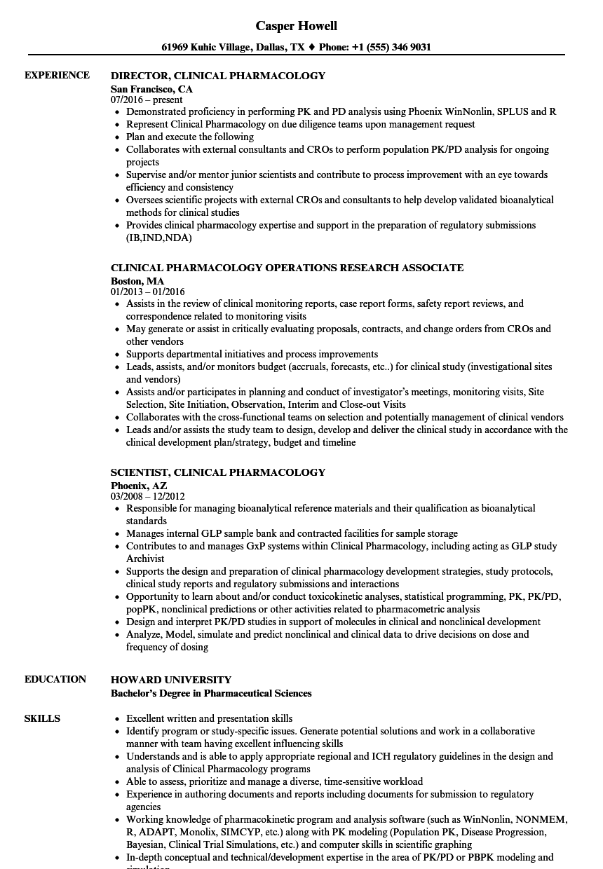 clinical pharmacology resume samples