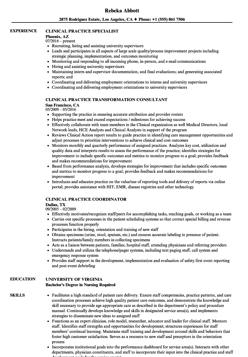 clinical practice resume samples
