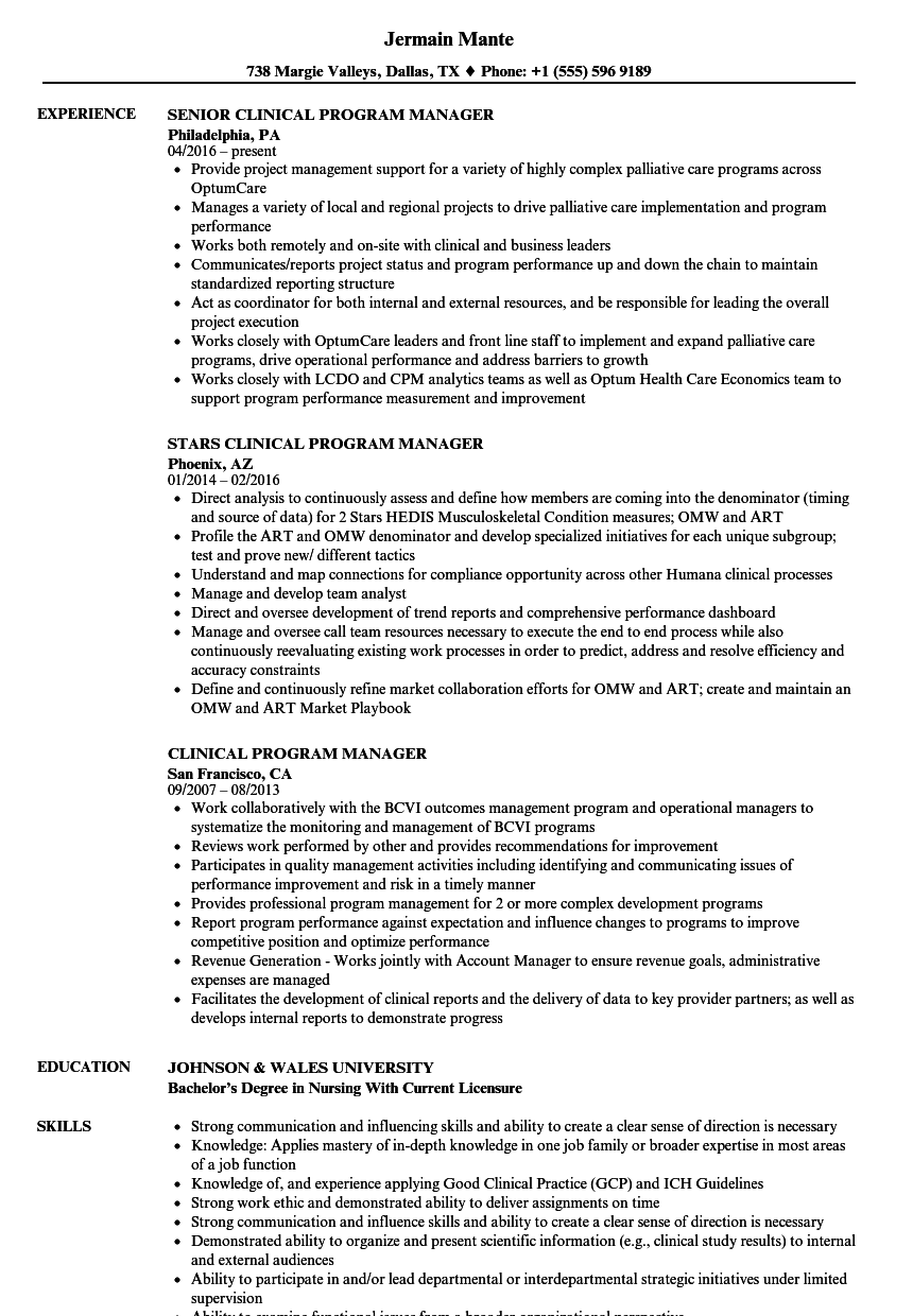 clinical program manager resume samples
