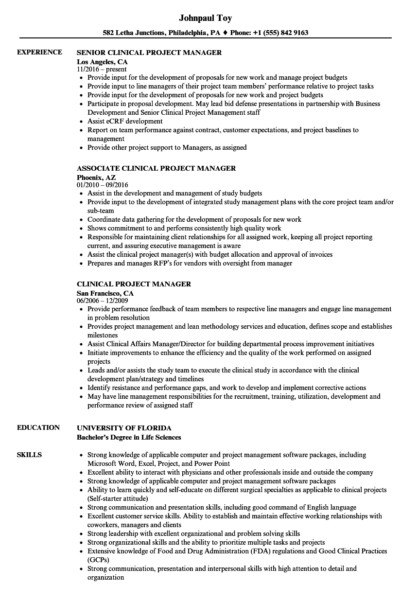 Clinical Project Manager Resume Samples | Velvet Jobs