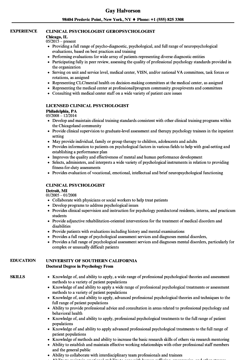 clinical psychologist resume samples