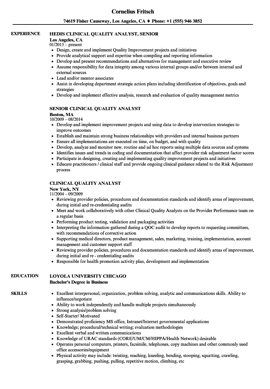 download clinical quality analyst resume sample as image file - Quality Analyst Resume