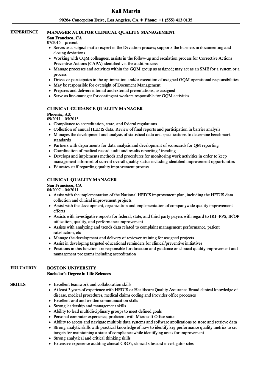 clinical quality manager resume samples