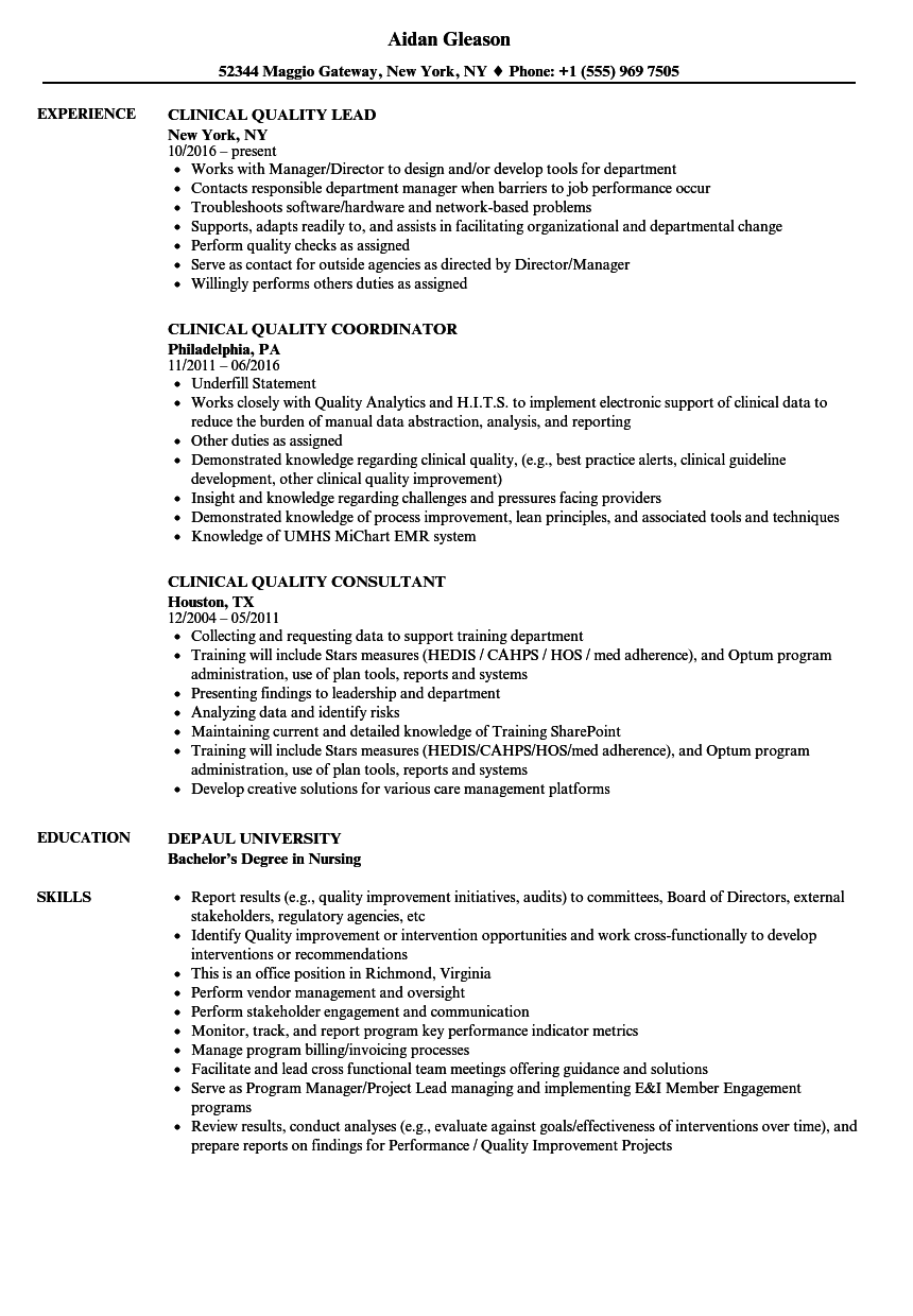 clinical quality resume samples