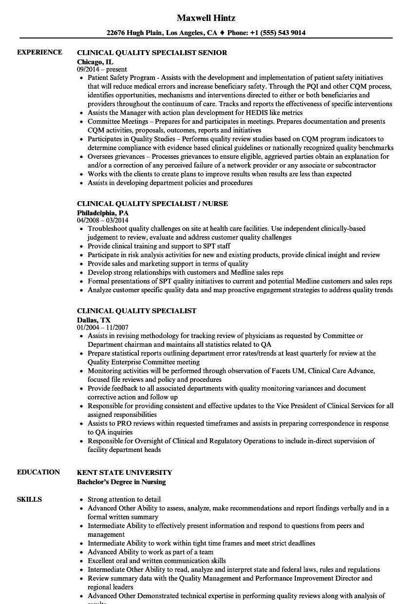 clinical quality specialist resume samples
