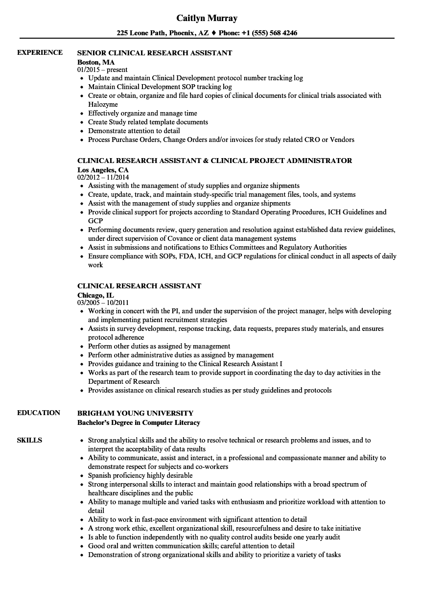 Clinical Research Assistant Resume Samples | Velvet Jobs