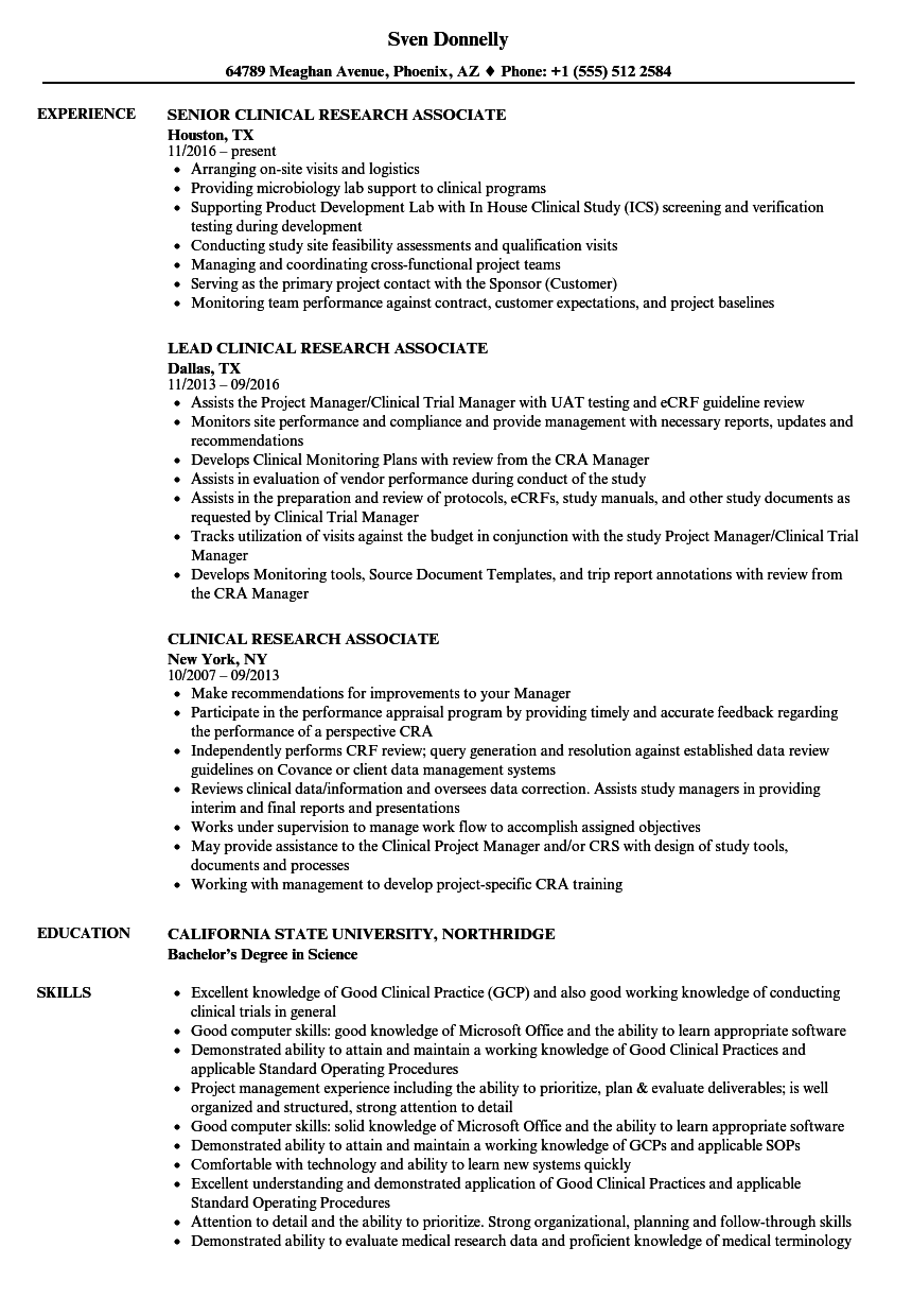 Download Clinical Research Associate Resume Sample As Image File