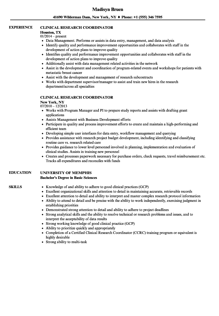 clinical research coordinator resume samples