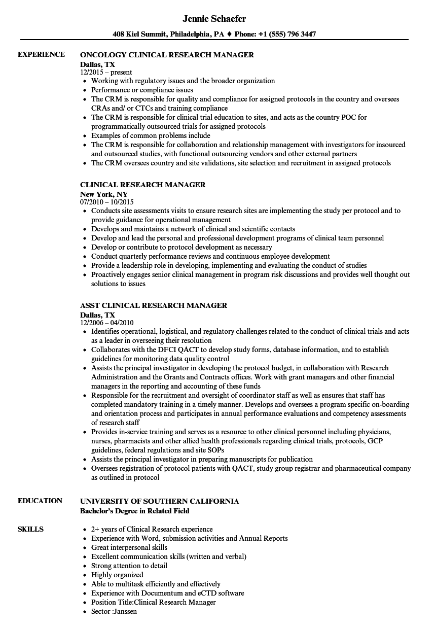 Clinical Research Manager Resume Samples | Velvet Jobs