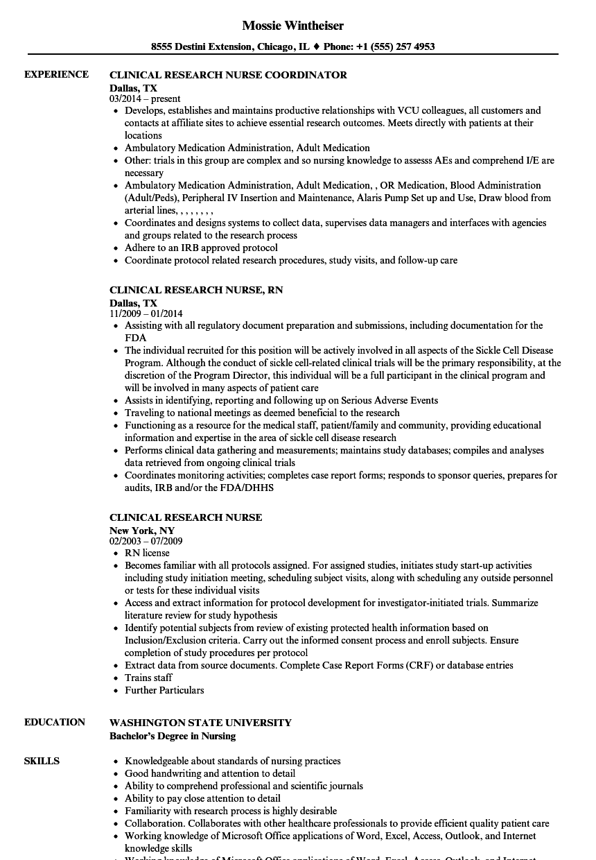 Clinical Research Nurse Resume Samples | Velvet Jobs
