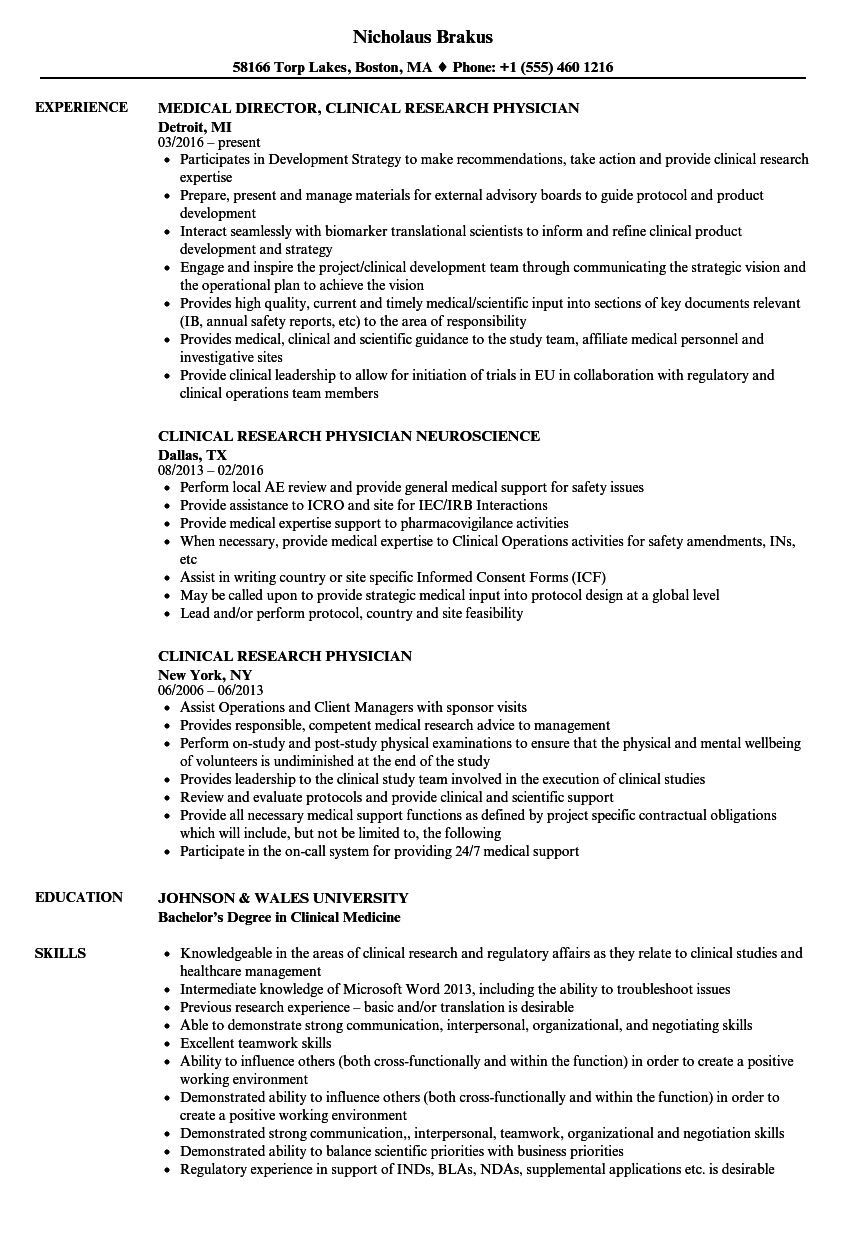 clinical research physician resume samples