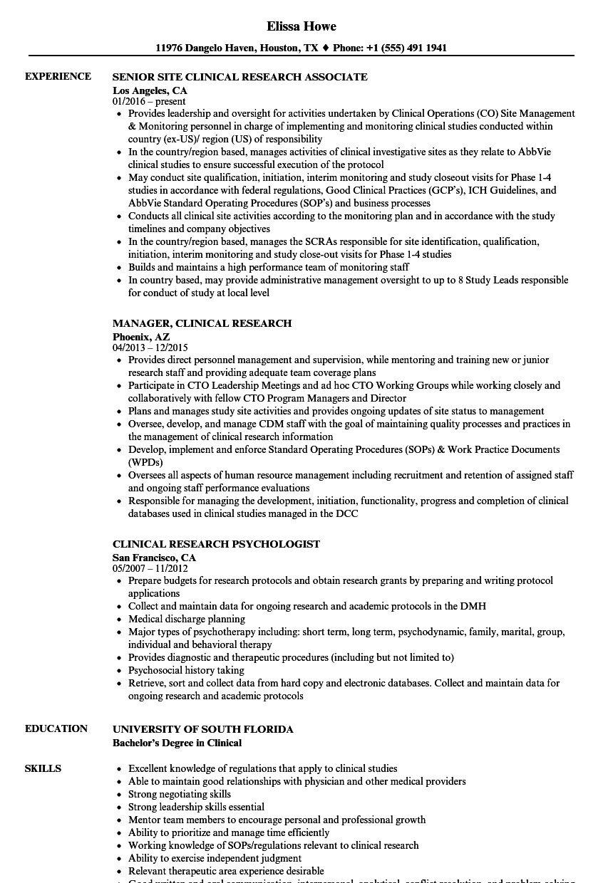 clinical research resume samples