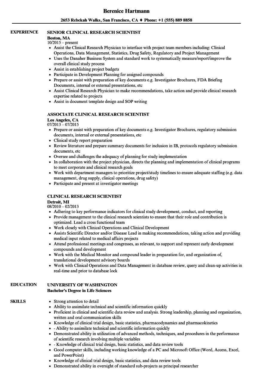 clinical research scientist resume samples velvet jobs