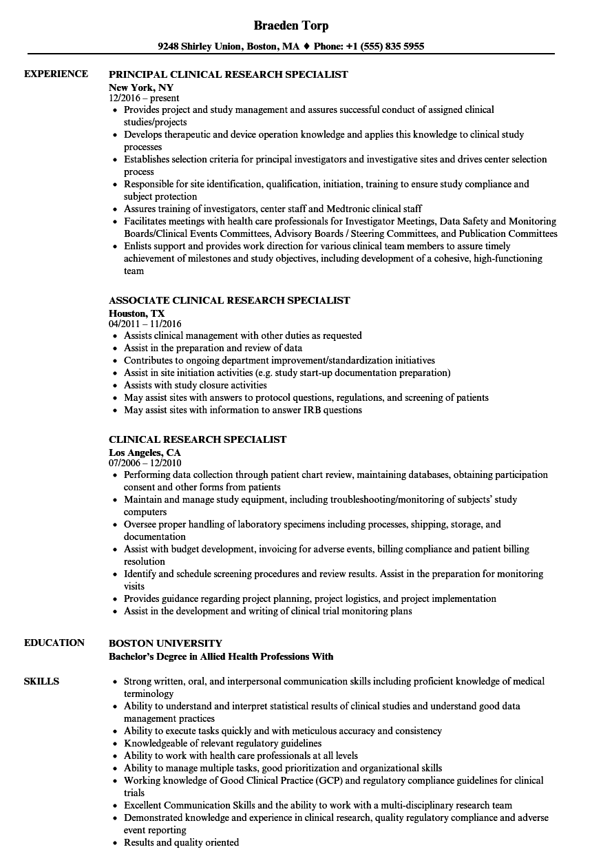 Clinical Research Specialist Resume Samples | Velvet Jobs