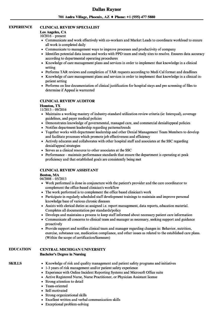 clinical review resume samples