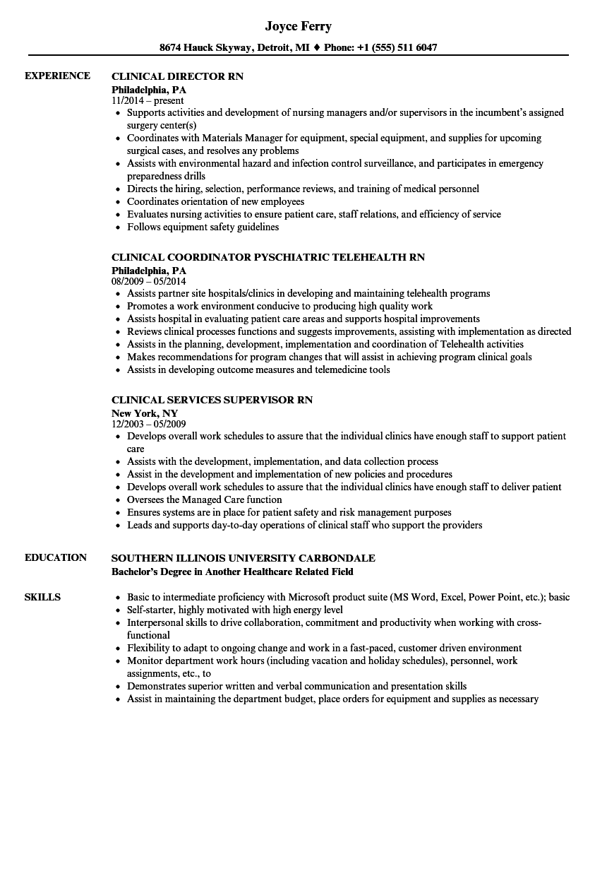 clinical rn resume samples